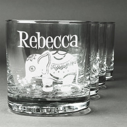 Baby Elephant Whiskey Glasses (Set of 4) (Personalized)