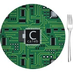 "Circuit Board Glass Appetizer / Dessert Plates 8"" - Single or Set (Personalized)"