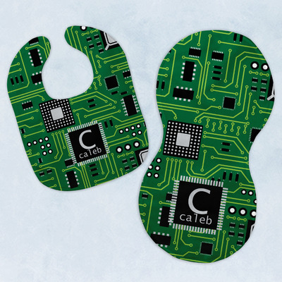 Circuit Board Baby Bib & Burp Set w/ Name and Initial