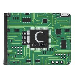 Circuit Board Genuine Leather Men's Bi-fold Wallet (Personalized)