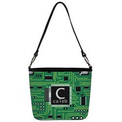 Circuit Board Bucket Bag w/ Genuine Leather Trim (Personalized)