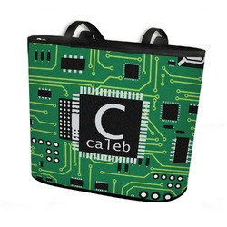 Circuit Board Bucket Tote w/ Genuine Leather Trim (Personalized)