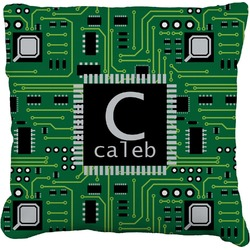 Circuit Board Faux-Linen Throw Pillow (Personalized)