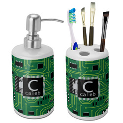 Circuit Board Ceramic Bathroom Accessories Set (Personalized)