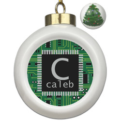 Circuit Board Ceramic Ball Ornament - Christmas Tree (Personalized)