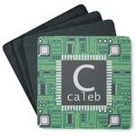 Circuit Board 4 Square Coasters - Rubber Backed (Personalized)