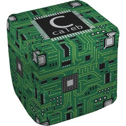 Circuit Board Cube Pouf Ottoman (Personalized)