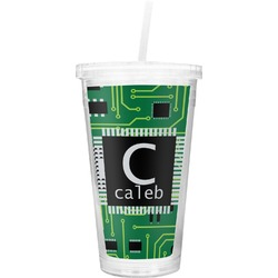 Circuit Board Double Wall Tumbler with Straw (Personalized)