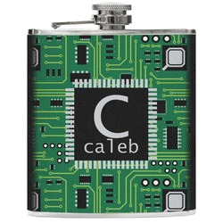 Circuit Board Genuine Leather Flask (Personalized)