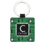Circuit Board Genuine Leather Rectangular Keychain (Personalized)