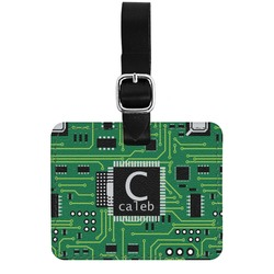 Circuit Board Genuine Leather Rectangular  Luggage Tag (Personalized)