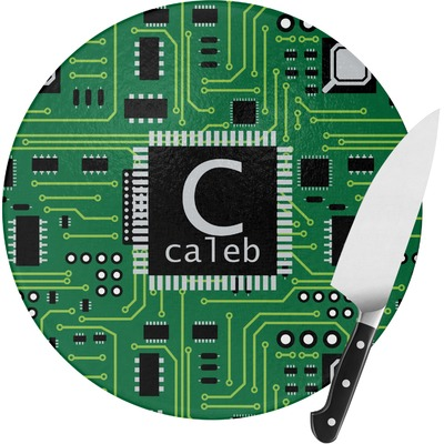 Circuit Board Round Glass Cutting Board (Personalized)