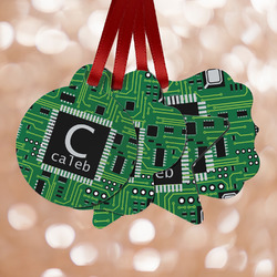 Circuit Board Metal Ornaments - Double Sided w/ Name and Initial