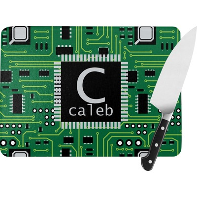 Circuit Board Rectangular Glass Cutting Board (Personalized)