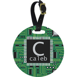 Circuit Board Round Luggage Tag (Personalized)