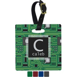 Circuit Board Square Luggage Tag (Personalized)