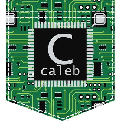 Circuit Board Iron On Faux Pocket (Personalized)
