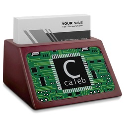 Circuit Board Red Mahogany Business Card Holder (Personalized)