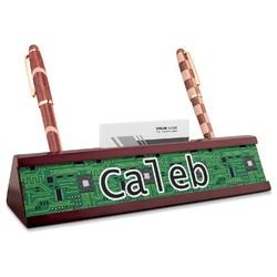 Circuit Board Red Mahogany Nameplate with Business Card Holder (Personalized)
