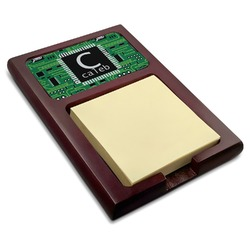Circuit Board Red Mahogany Sticky Note Holder (Personalized)