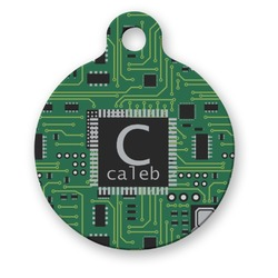 Circuit Board Round Pet Tag (Personalized)