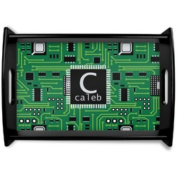 Circuit Board Black Wooden Tray (Personalized)