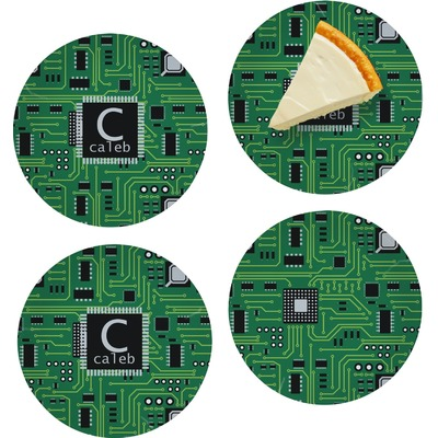 "Circuit Board Set of 4 Glass Appetizer / Dessert Plate 8"" (Personalized)"