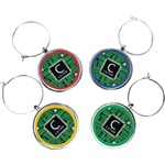 Circuit Board Wine Charms (Set of 4) (Personalized)
