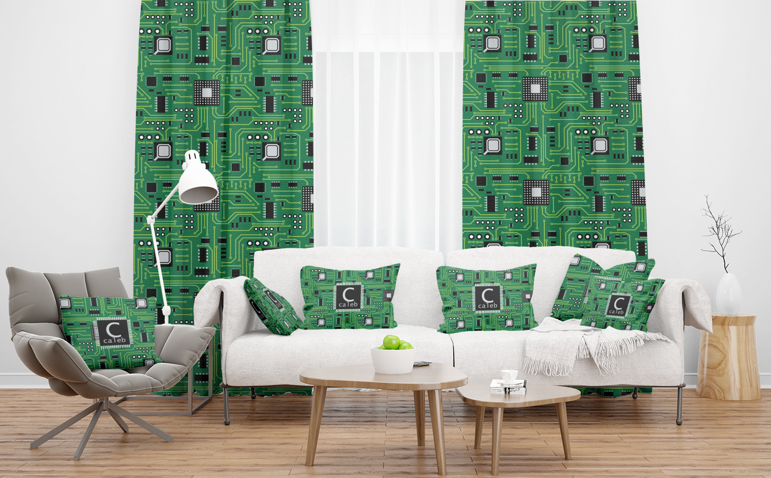 Circuit Board Curtain Personalized Youcustomizeit Circuitboardtablejpg Sheer And Custom Curtains In Room With Matching Pillows