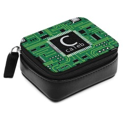 Circuit Board Small Leatherette Travel Pill Case (Personalized)