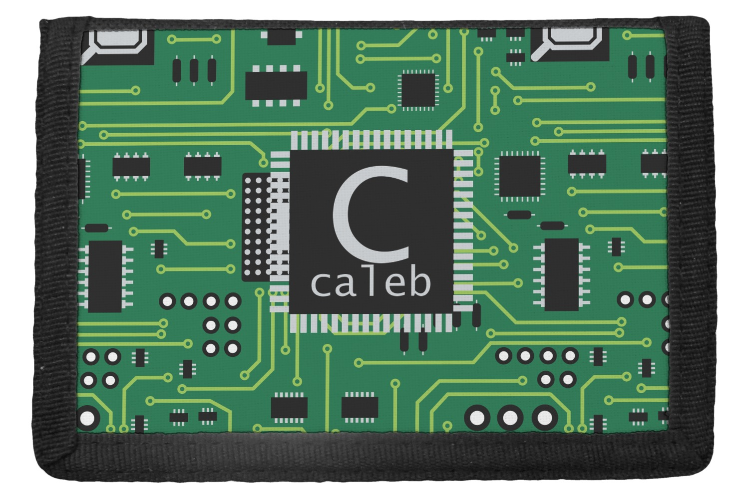 circuit board trifold wallet personalized youcustomizeit