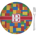 "Building Blocks Glass Appetizer / Dessert Plates 8"" - Single or Set (Personalized)"