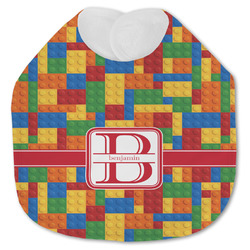 Building Blocks Jersey Knit Baby Bib w/ Name and Initial