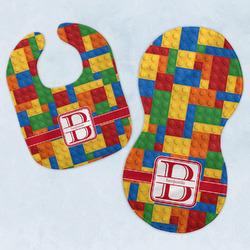 Building Blocks Baby Bib & Burp Set w/ Name and Initial