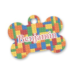 Building Blocks Bone Shaped Dog Tag (Personalized)