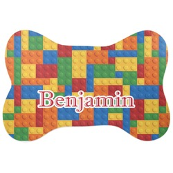 Building Blocks Bone Shaped Dog Food Mat (Personalized)