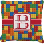 Building Blocks Faux-Linen Throw Pillow (Personalized)