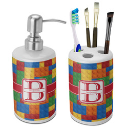Building Blocks Ceramic Bathroom Accessories Set (Personalized)