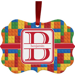 Building Blocks Metal Frame Ornament - Double Sided w/ Name and Initial