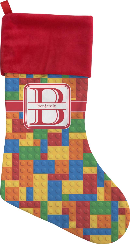 Building blocks christmas stocking single sided