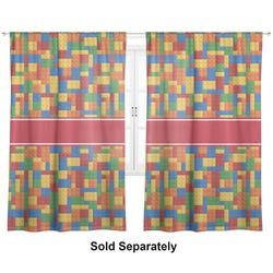 "Building Blocks Curtains - 20""x54"" Panels - Lined (2 Panels Per Set) (Personalized)"