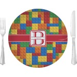 "Building Blocks Glass Lunch / Dinner Plates 10"" - Single or Set (Personalized)"