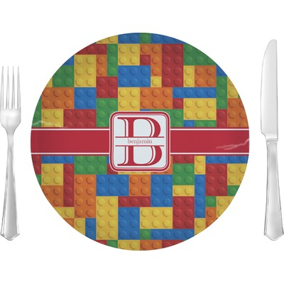 """Building Blocks Glass Lunch / Dinner Plate 10"""" (Personalized)"""
