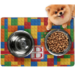 Building Blocks Dog Food Mat - Small w/ Name and Initial