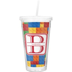 Building Blocks Double Wall Tumbler with Straw (Personalized)