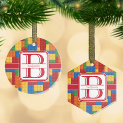 Building Blocks Flat Glass Ornament w/ Name and Initial