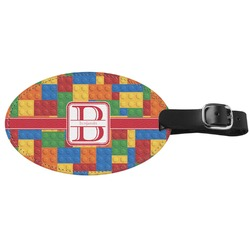 Building Blocks Genuine Leather Oval Luggage Tag (Personalized)