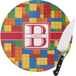 Building Blocks Round Glass Cutting Board (Personalized)