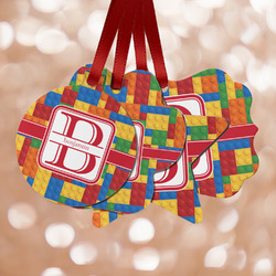 Building Blocks Metal Ornaments - Double Sided w/ Name and Initial