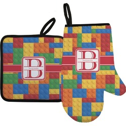 Building Blocks Oven Mitt & Pot Holder Set w/ Name and Initial
